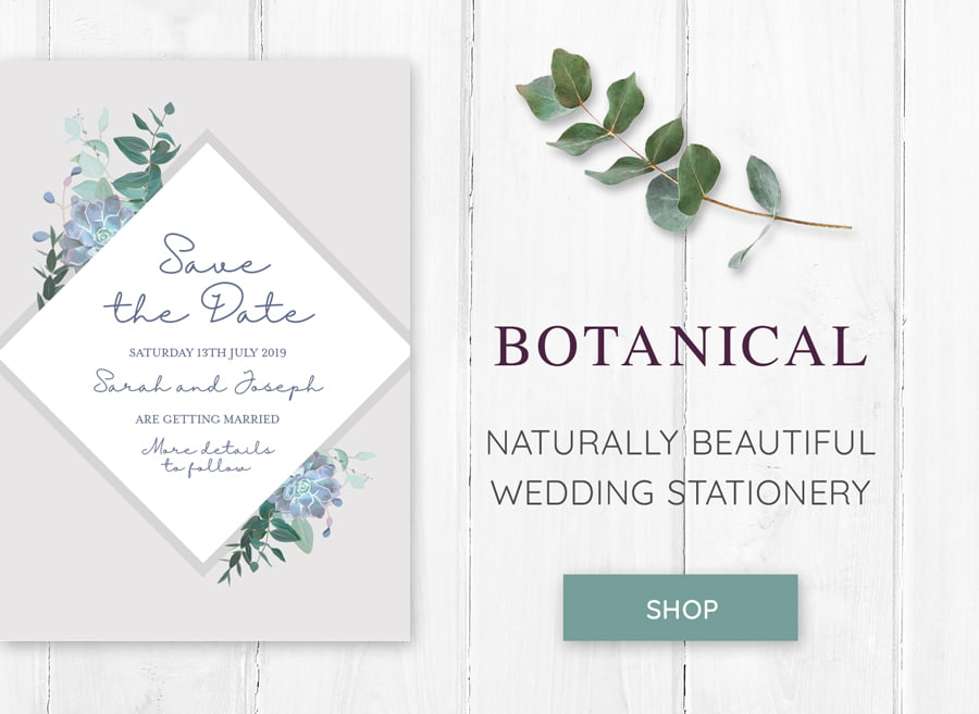 Botanical themed wedding stationery save the date Love Invited