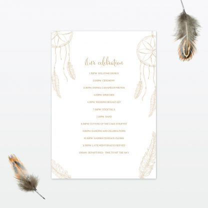 dreamcatcher wedding order of the day back min