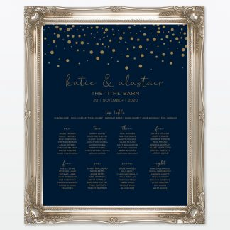 Confetti wedding printed table plan frame