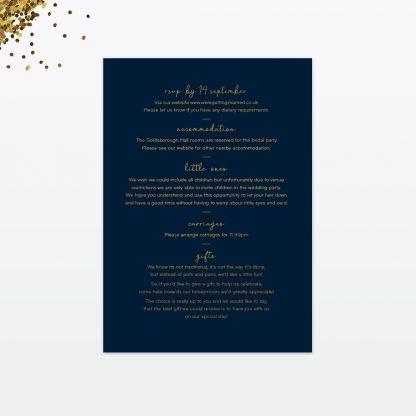 confetti wedding invitation card back