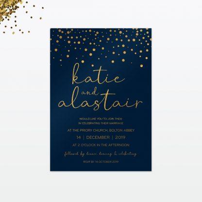 confetti wedding invitation card front