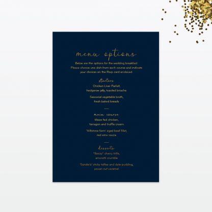 confetti wedding invitation menu