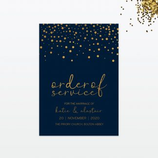 confetti wedding order of service front