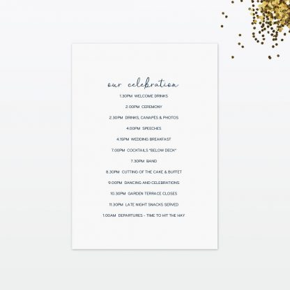 confetti wedding order of the day back