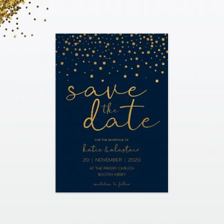 confetti wedding save the date card a6 front