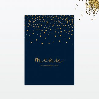 confetti wedding table menu front