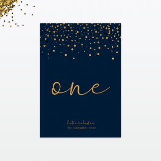 confetti wedding table number card