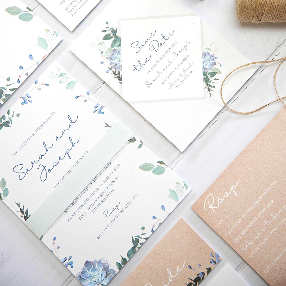 Botanical design wedding stationery