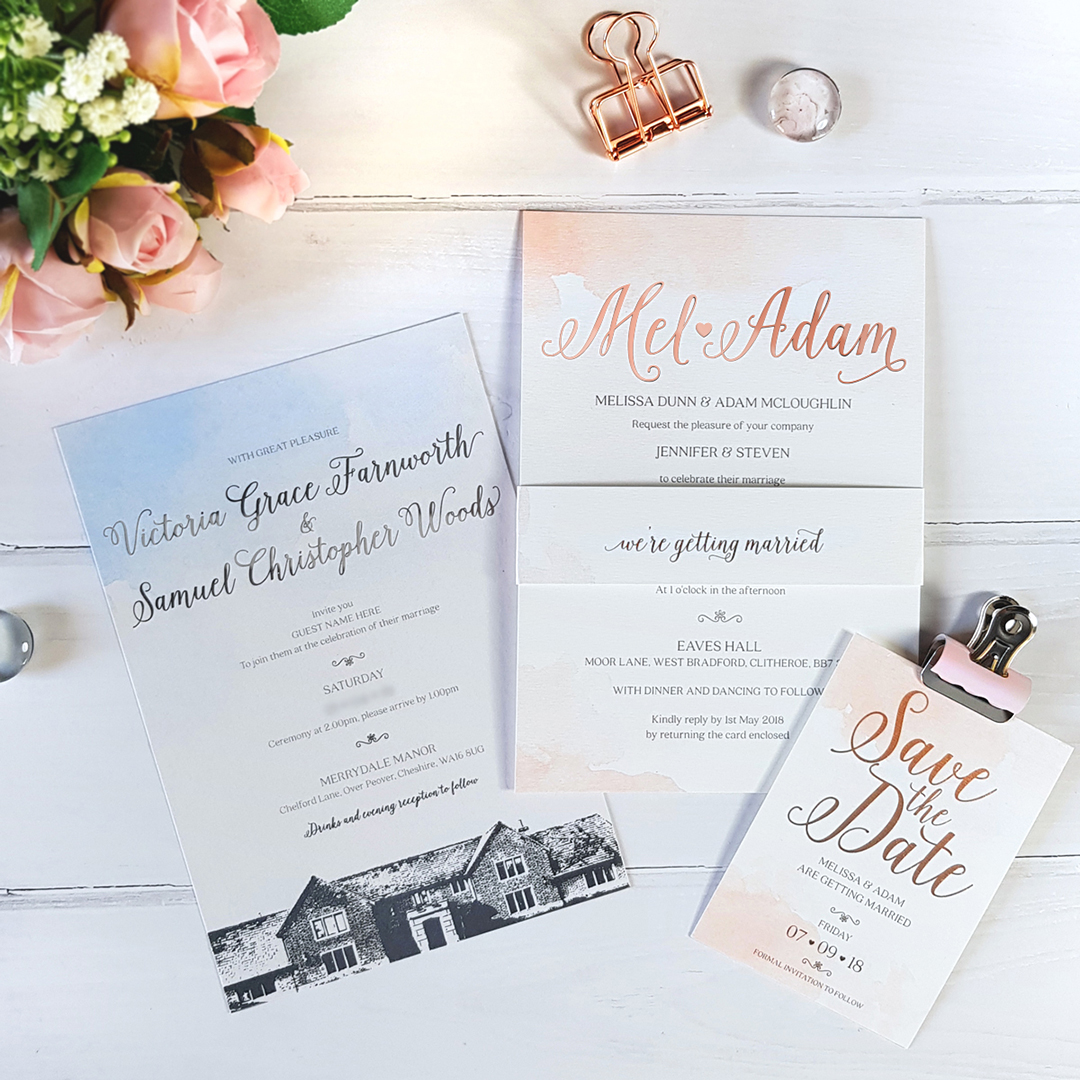 Sweetheart watercolour wedding invite