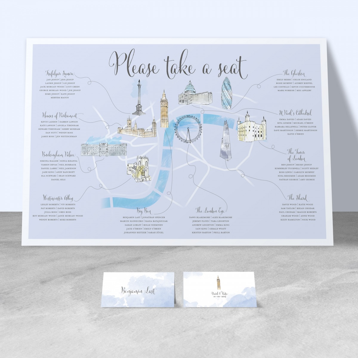 illustrated london design wedding table plan